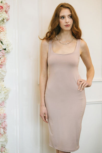Clarissa Sleeveless Bodycon Midi Dress Dresses Final Touch Dusty Rose Small