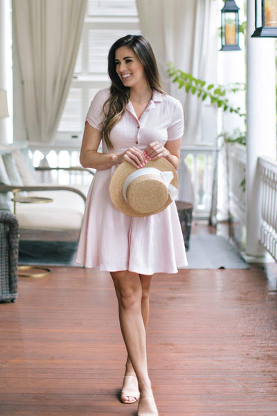 Maisie Collared Mini Dress Dresses Aakaa Blush Small