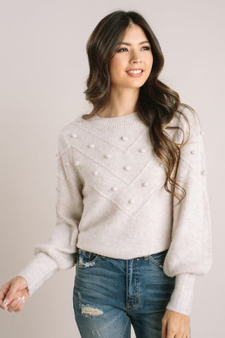 Carol Crew Neck Pom Pom Sweater-Morning Lavender