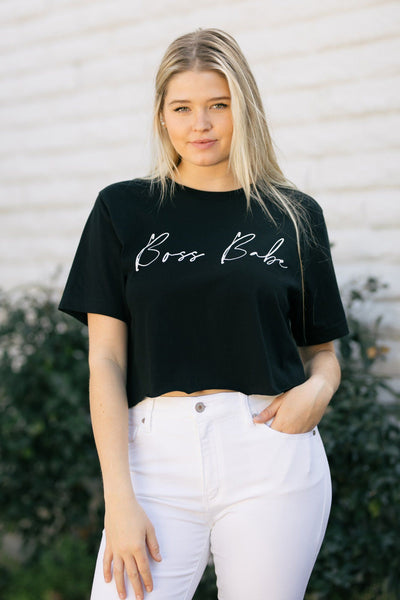 Brenda Boss Babe Cropped T-Shirt Tops Wknder Black Small