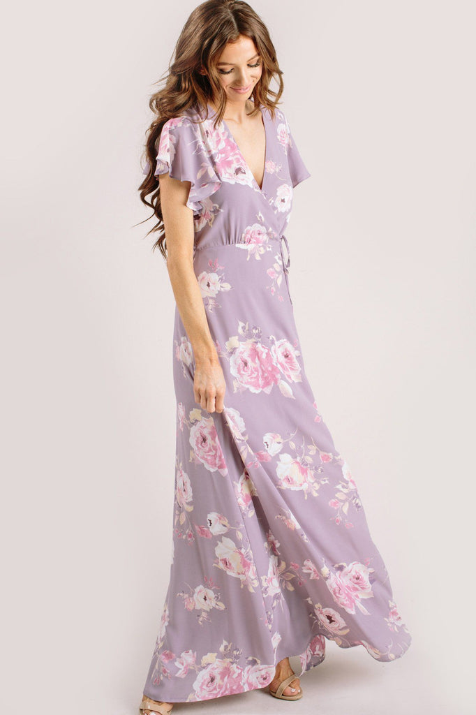 Charlotte Floral Wrap Maxi Dress Dresses Everly Lavender Medium