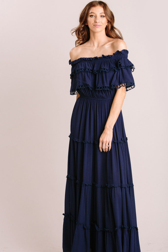 Maddie Off the Shoulder Maxi Dress Dresses MABLE