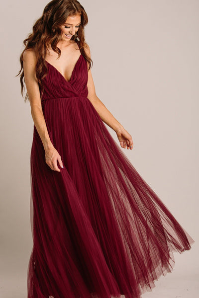 Scarlett Tulle Pleated Maxi Dress Dresses Maniju Burgundy X-Small