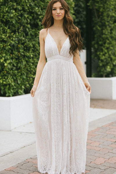 Justine Lace Maxi Dress Dresses Aakaa Off White Small