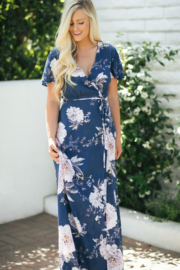 Julia Floral Wrap Maxi Dress Dresses Aakaa Navy-Pink Small