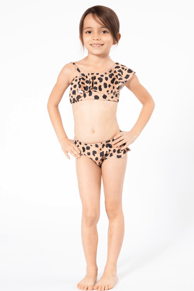 Kids Ruffle Leopard Two Piece Swimsuit Swimwear Marina West Swim Leopard 2-3