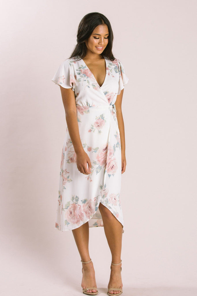 Petite Kenley Floral Wrap Midi Dress Dresses Everly