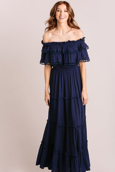 Maddie Off the Shoulder Maxi Dress Dresses MABLE Navy Small