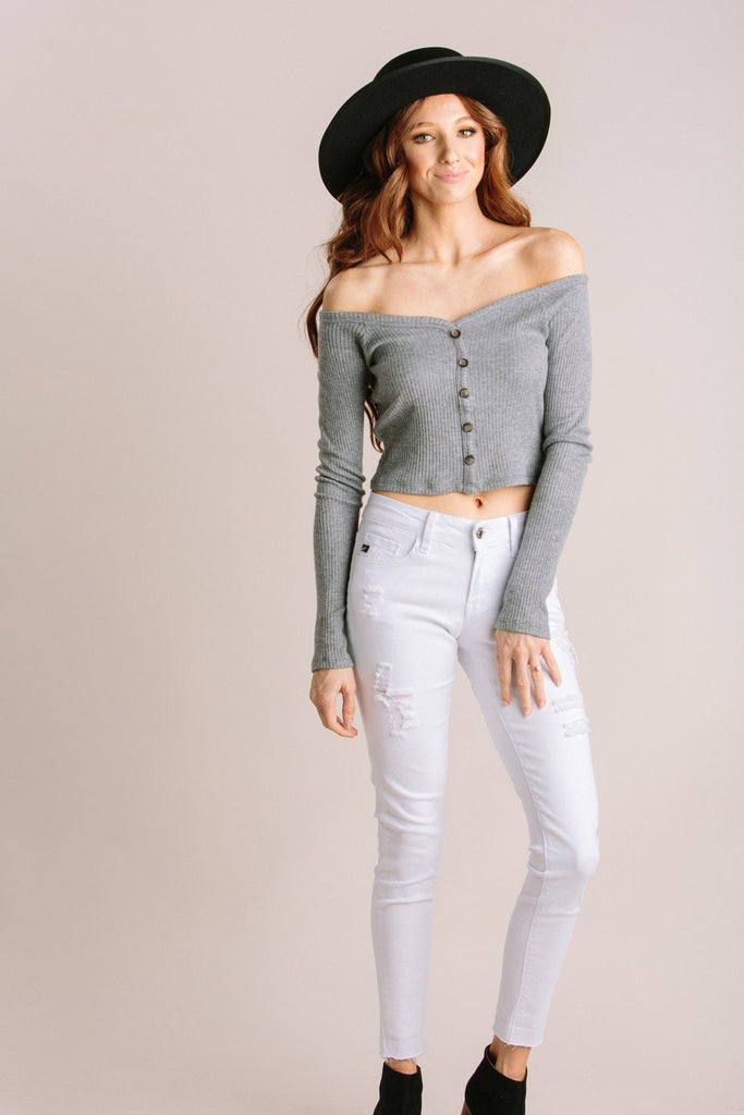 Tara Ribbed Off the Shoulder Crop Top-Morning Lavender