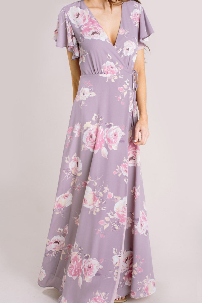 Charlotte Floral Wrap Maxi Dress Dresses Everly Lavender XS