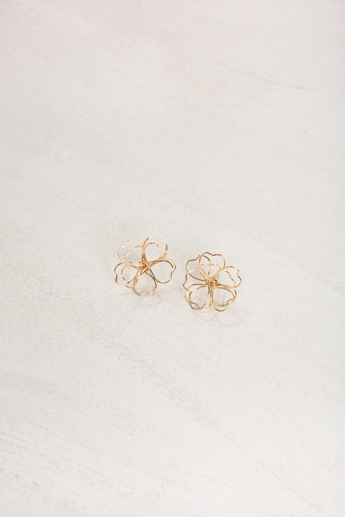 Addie Gold Flower Earrings Earrings Joia Gold