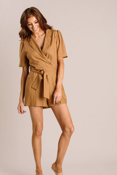 Eileen Linen Romper Rompers LUSH Camel Small