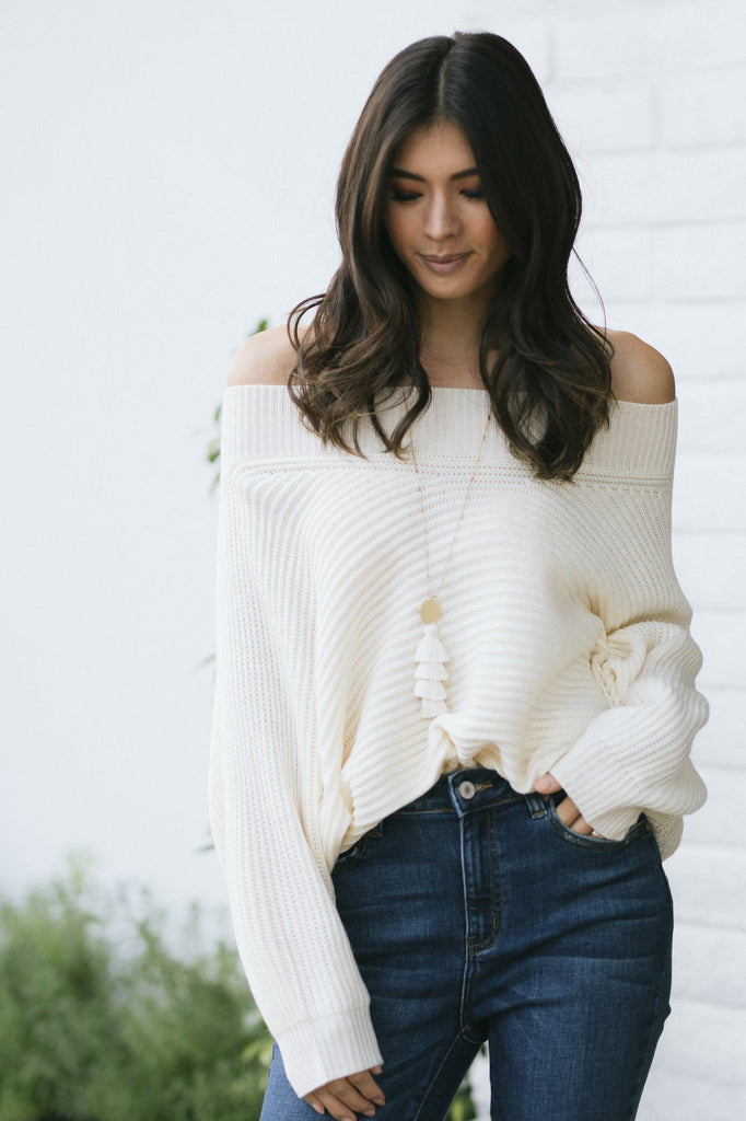 Portia Off the Shoulder Knit Sweater Sweaters Aakaa