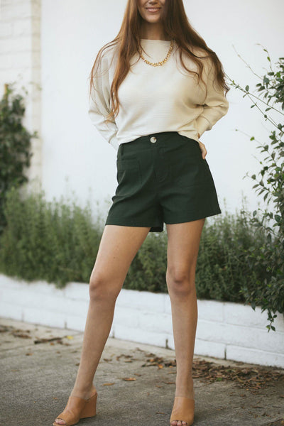Frances Cuffed Stretch Shorts Shorts Wishlist Olive Small