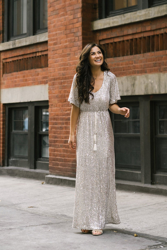 Celia Silver Sequin Maxi Dress