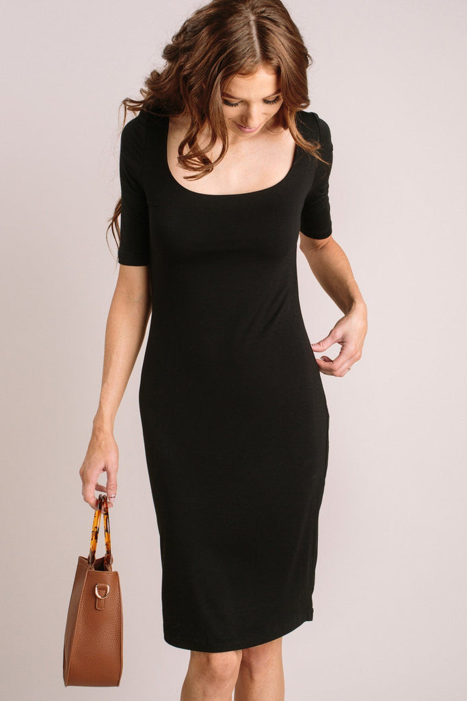 Miriam Double Layered Midi Dress Dresses Final Touch Black Small