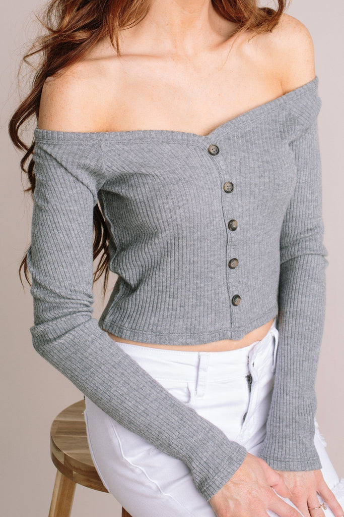 Tara Ribbed Off the Shoulder Crop Top Tops HYFVE Grey Small