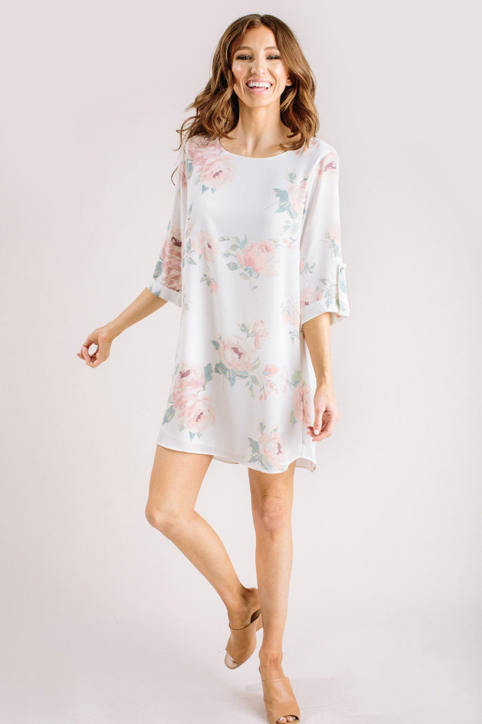 Georgina Floral Shift Dress Dresses Everly Ivory Small