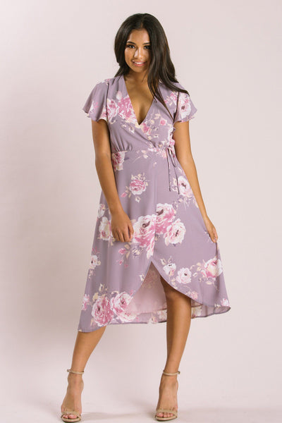 Petite Kenley Floral Wrap Midi Dress Dresses Everly Lavender XSP