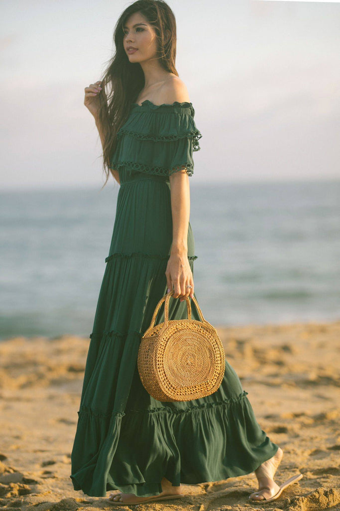 Maddie Off the Shoulder Maxi Dress Dresses MABLE Hunter Green Small