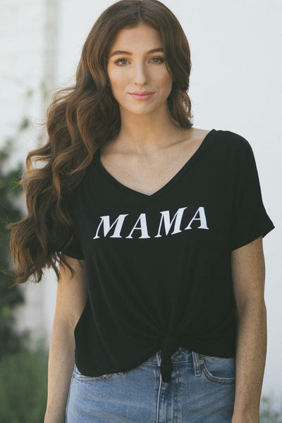 Beatrice Mama V-Neck T-Shirt Tops Hyfve Black Small
