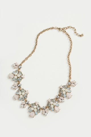 Haley Blush and Pearl Crystal Statement Neclace