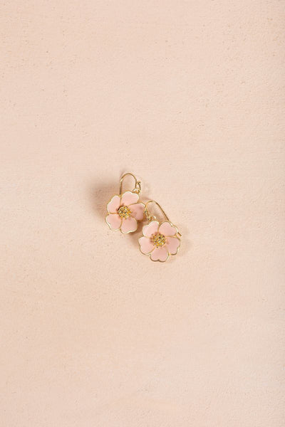 Ashley Pink Flower Dangle Earrings Earrings Joia