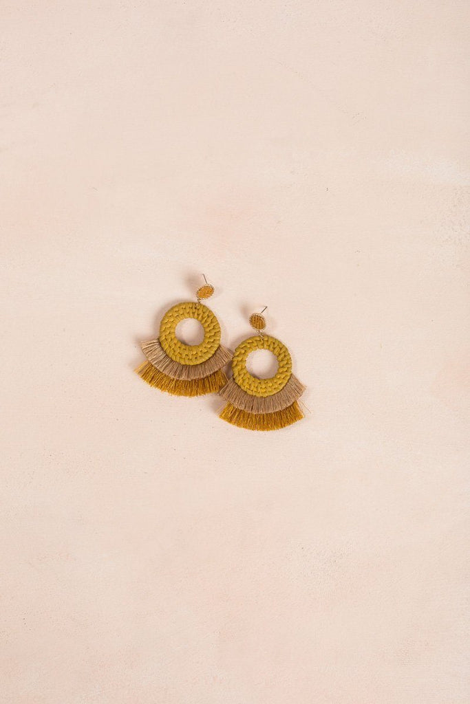 Tess Mustard Rattan Layered Earrings Earrings Ana Mustard