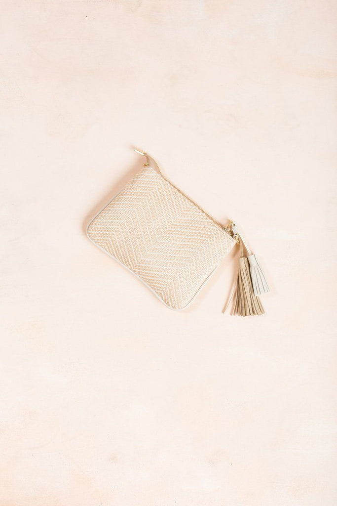 Cassia Woven Convertible Clutch Handbags MMS Beige