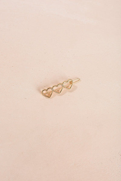 Helen Gold Three Heart Hair Clip Hair ANA/Girly Gold