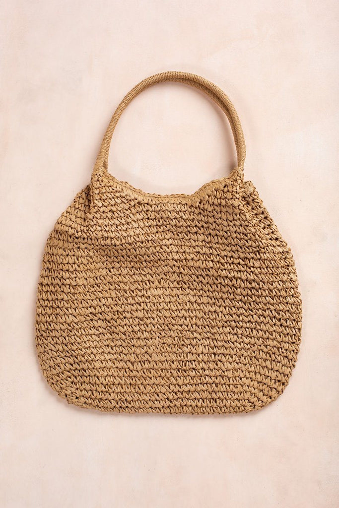 Mimi Large Straw Bag Handbags Fame Tan