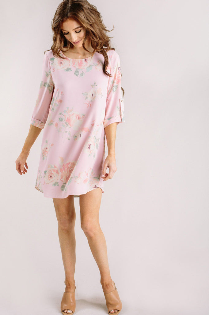 Georgina Floral Shift Dress Dresses Everly Blush XS