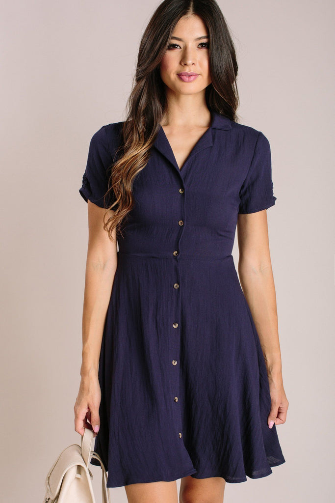 Maisie Collared Mini Dress Dresses Aakaa Navy Small