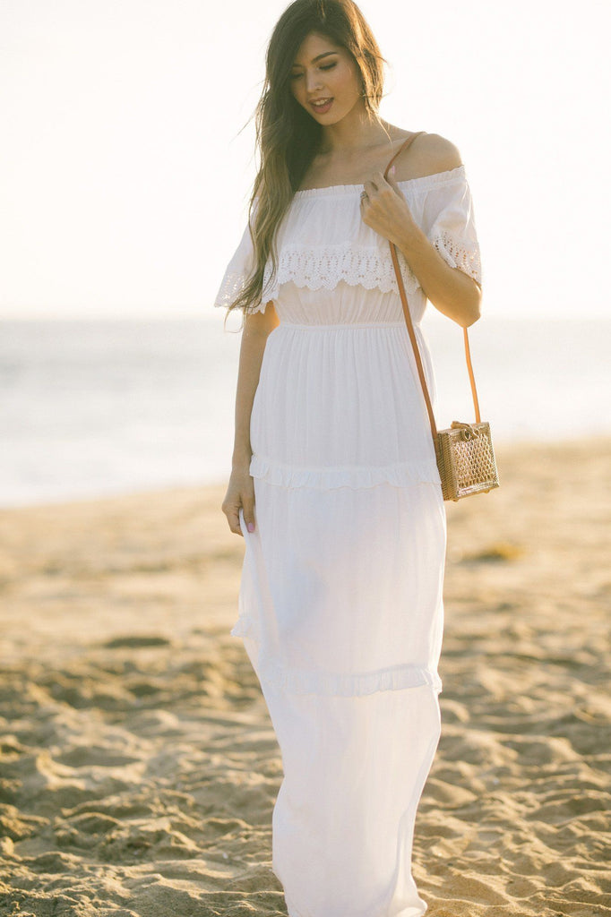 Nicolette White Off the Shoulder Maxi Dress Dresses Emory Park
