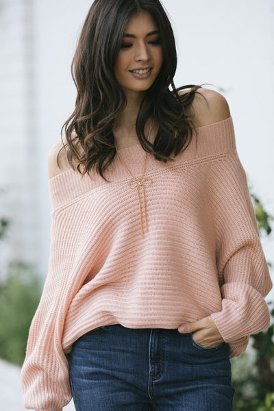 Portia Off the Shoulder Knit Sweater Sweaters Aakaa Blush Small