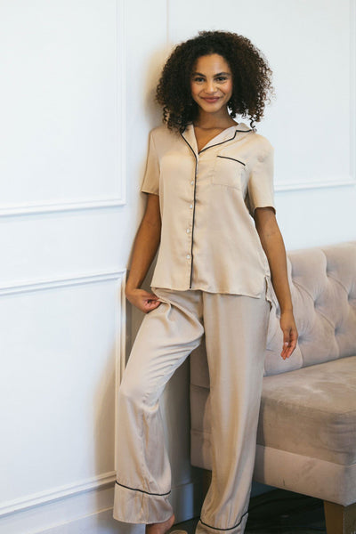 Louise Woven Pajama Set Loungewear & Intimates Crescent Sand Small