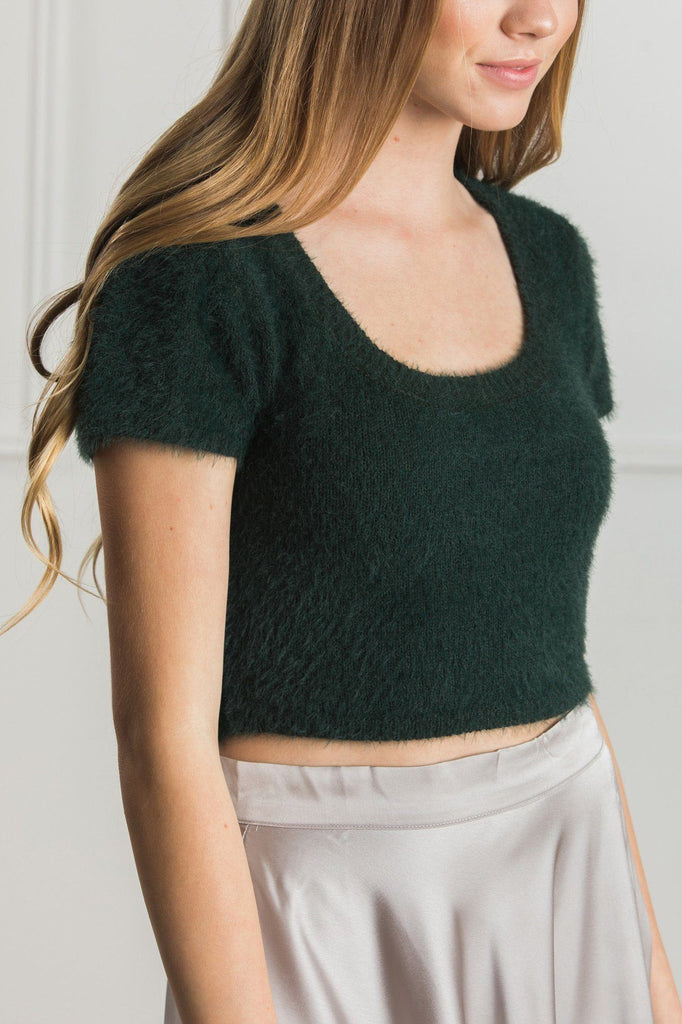 Gigi Scoop Neck Eyelash Crop Top Tops Cotton Candy Green S/M