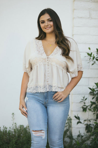 Curvy Mckenna Lace Trim Babydoll Top Tops Curve Market Taupe 1X