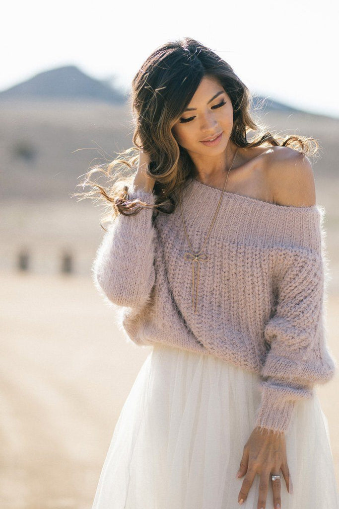 Demi Off the Shoulder Eyelash Knit Sweater Sweaters Dreamers Pink X-Small/Small