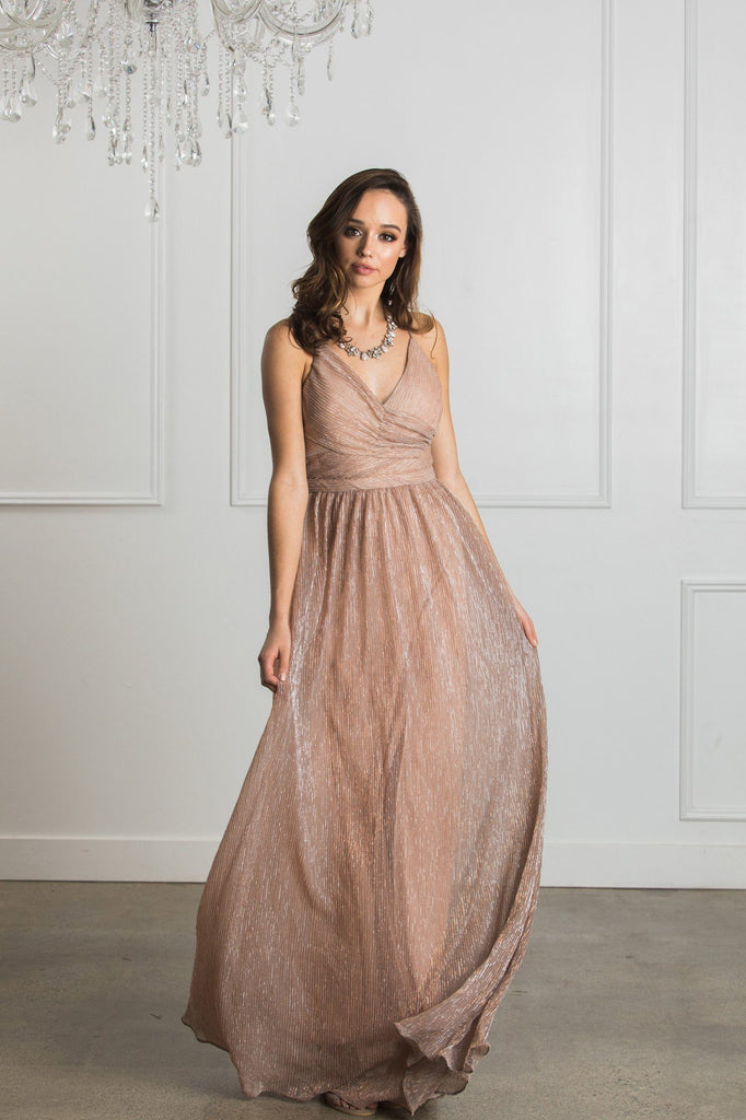 Ava Blush Metallic Maxi Dress Dresses The Clothing Company
