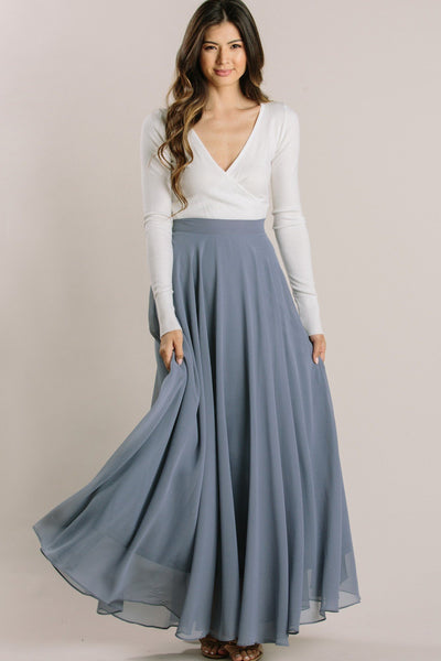 Amelia Full Maxi Skirt TEST TEST TEST Skirts Lucy Paris Slate Blue XX-Small