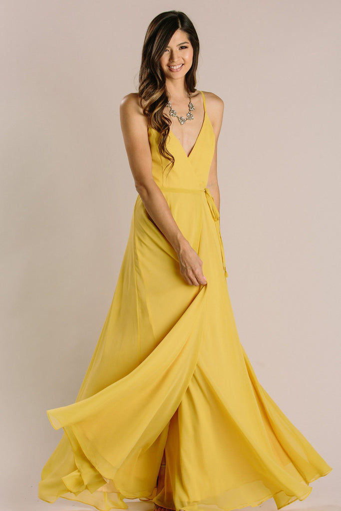 Magnolia Wrap Maxi Dress Dresses INA Mustard Small