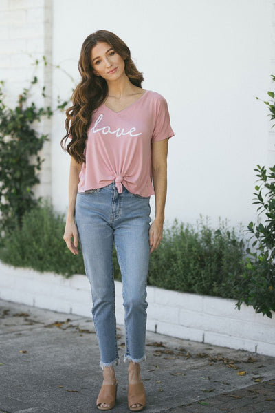 Cammie Love V-Neck T-Shirt Tops Hyfve Desert Rose Small