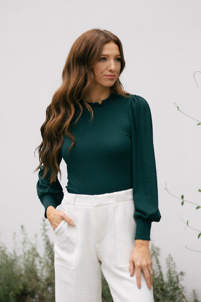 Kendall Ruffle Mock Neck Top Tops Lush Hunter Green Small