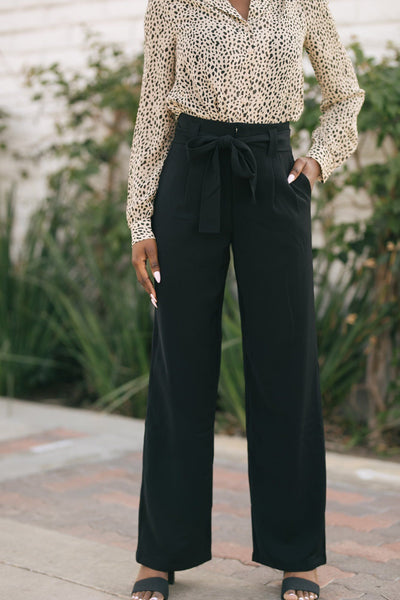 Pia Wide Leg Trousers Pants Le Lis Black Small