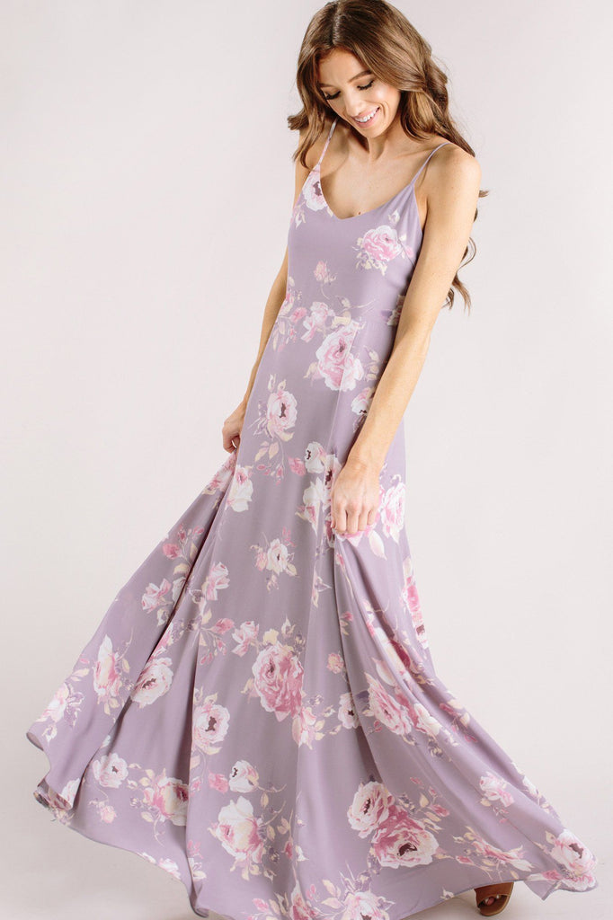 Sophie Lavender Floral Maxi Dress Dresses Everly Lavender Small
