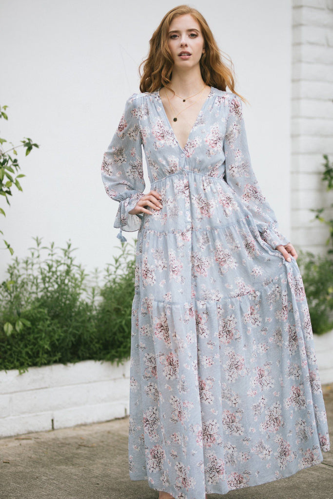 Margot Floral Long Sleeve Maxi Dress Dresses Aakaa Light Blue Small