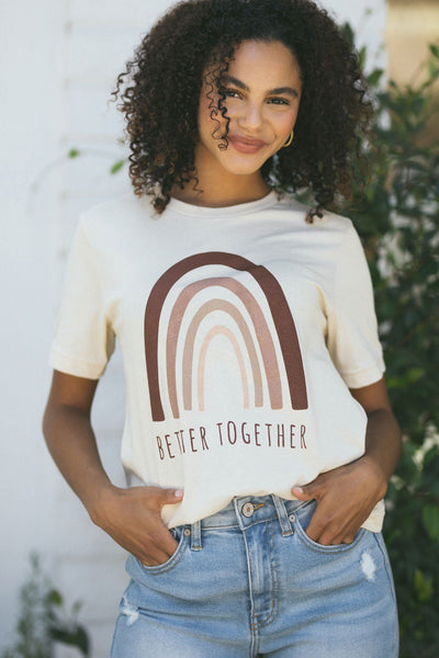 Skylar Better Together Graphic T-Shirt Tops Wildberry Waves Cream Small