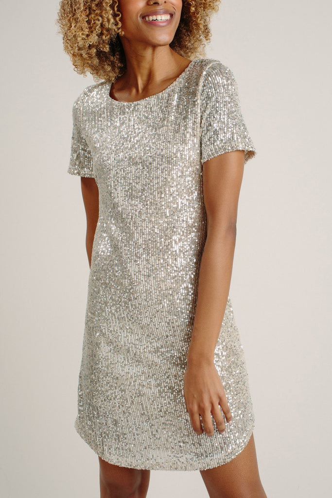 Nicolette Silver Sequin Shift Dress
