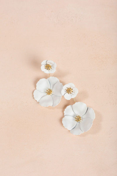 Janie White Flower Front Back Earrings Earrings Girly